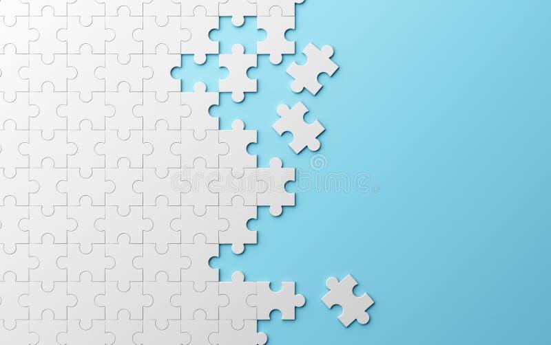 Il puzzle, struttura del modello ha separato su fondo blu 3d illustrazione vettoriale
