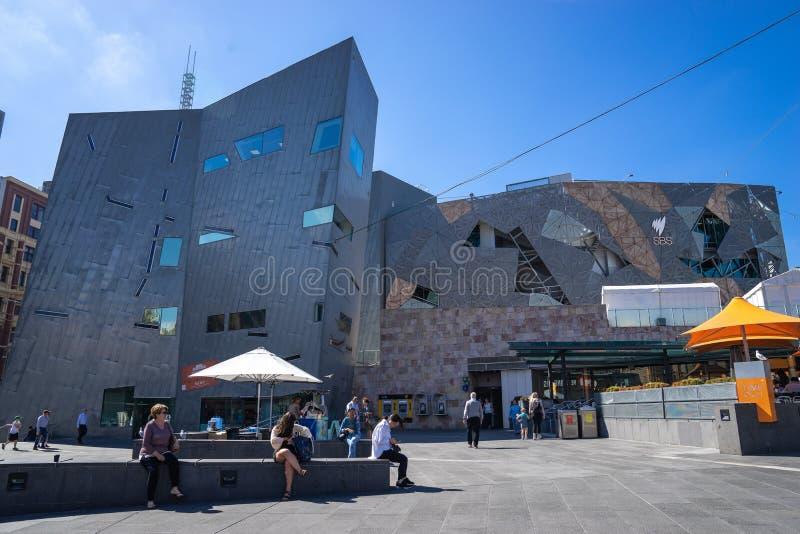 Il quadrato di federazione a Melbourne è uno sviluppo di misto-uso nel centro urbano immagine stock libera da diritti