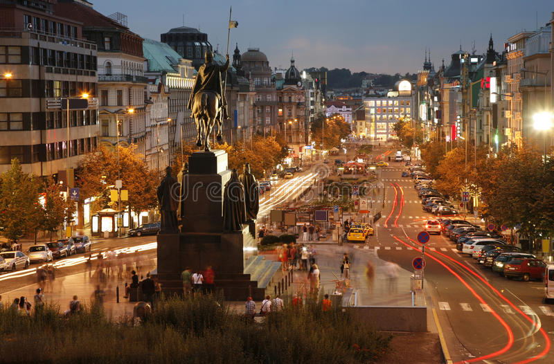 Il quadrato di Wenceslas, Praga immagine stock libera da diritti