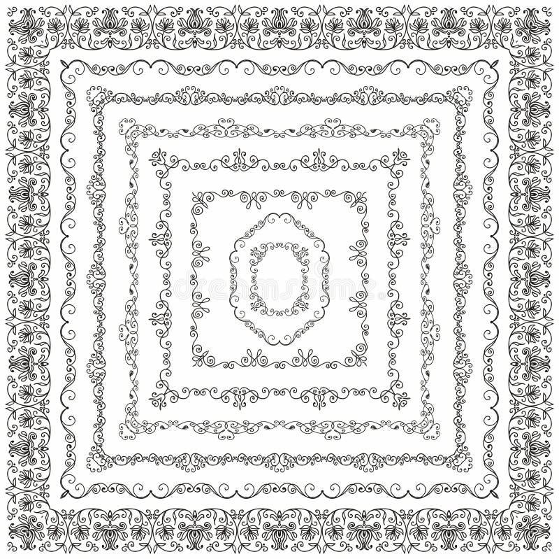 Il quadrato disegnato a mano d'annata di vettore incornicia i confini illustrazione di stock
