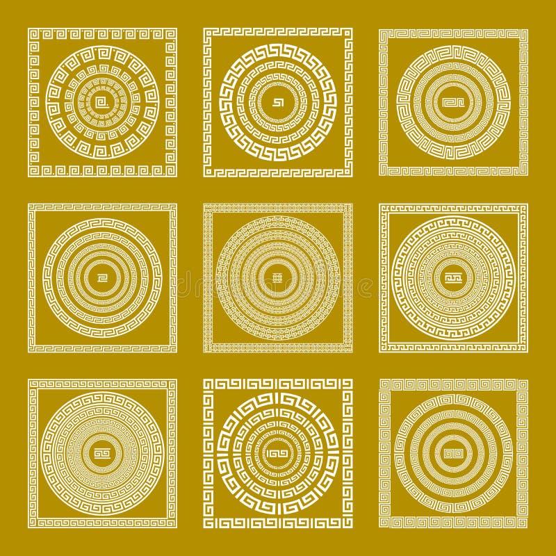 Il quadrato dorato d'annata tradizionale stabilito di vettore ed il meandro greco rotondo dell'ornamento confinano l'oro della Gr royalty illustrazione gratis