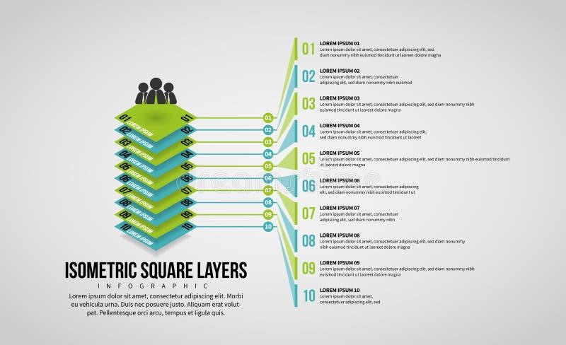 Il quadrato isometrico mette a strati Infographic illustrazione vettoriale