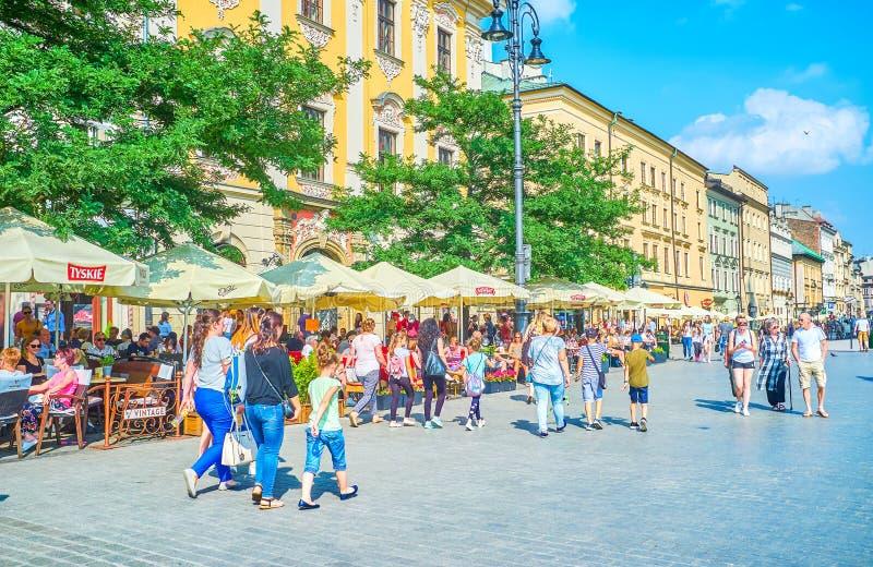 Il quadrato principale del mercato a Cracovia, Polonia fotografia stock