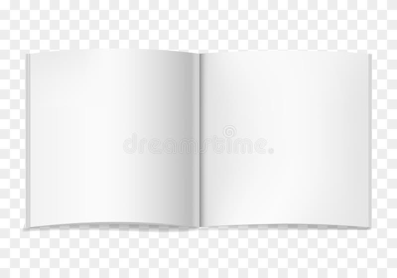 Il quadrato realistico di vettore bianco ha aperto il libro illustrazione di stock
