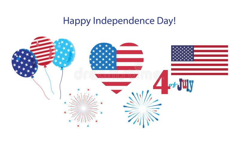 il quarto delle icone felici di simboli di festa dell'indipendenza di luglio ha messo la bandiera americana patriottica, insegna  illustrazione vettoriale