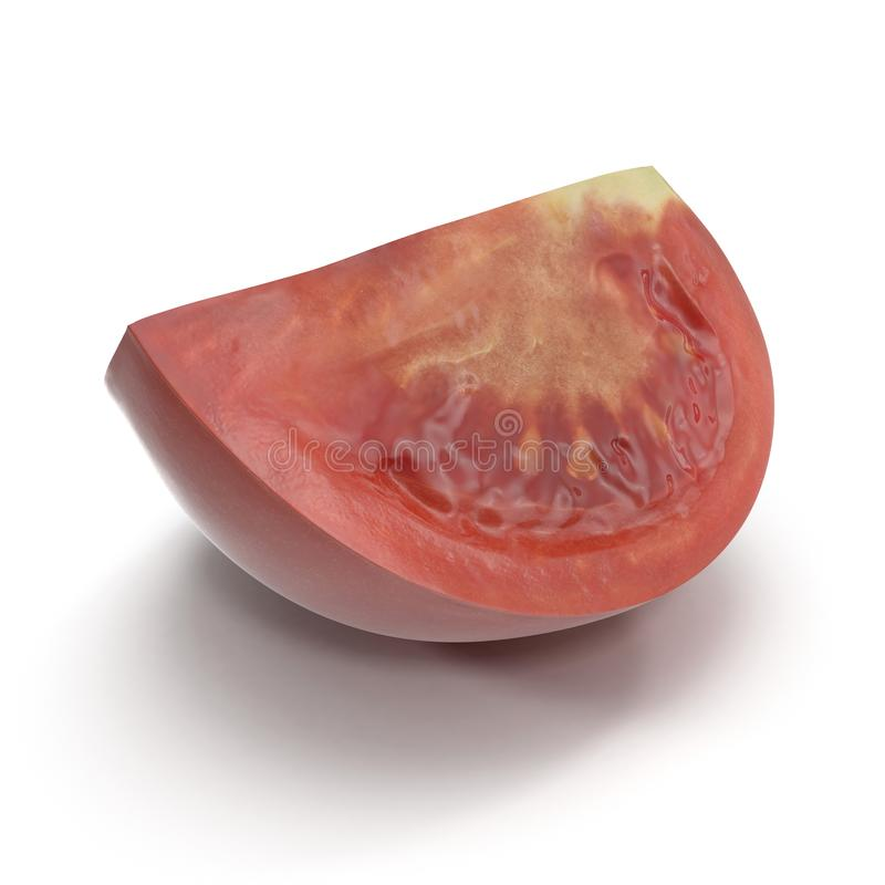 Il quarto fresco del pomodoro ha affettato isolato su fondo bianco illustrazione 3D illustrazione vettoriale