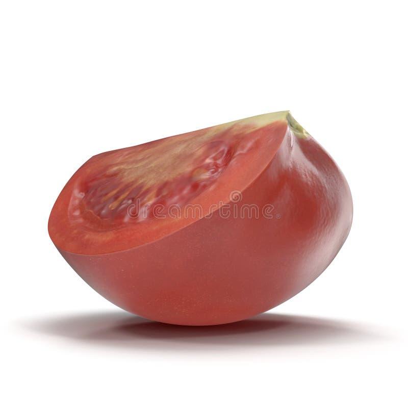 Il quarto fresco del pomodoro ha affettato isolato su fondo bianco illustrazione 3D illustrazione di stock