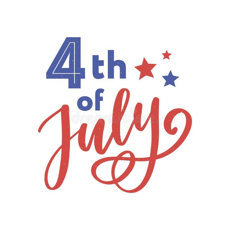 il quarto luglio Calligrafia felice di festa dell'indipendenza illustrazione vettoriale