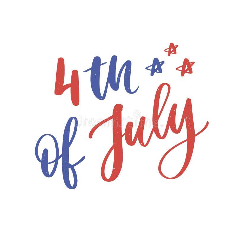 il quarto luglio Calligrafia felice di festa dell'indipendenza illustrazione di stock
