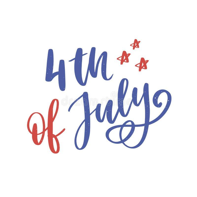 il quarto luglio Calligrafia felice di festa dell'indipendenza royalty illustrazione gratis