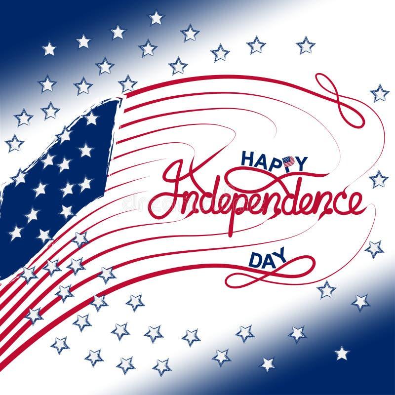 il quarto luglio con la bandiera di U.S.A., illustrazione di vettore dell'insegna di festa dell'indipendenza illustrazione di stock