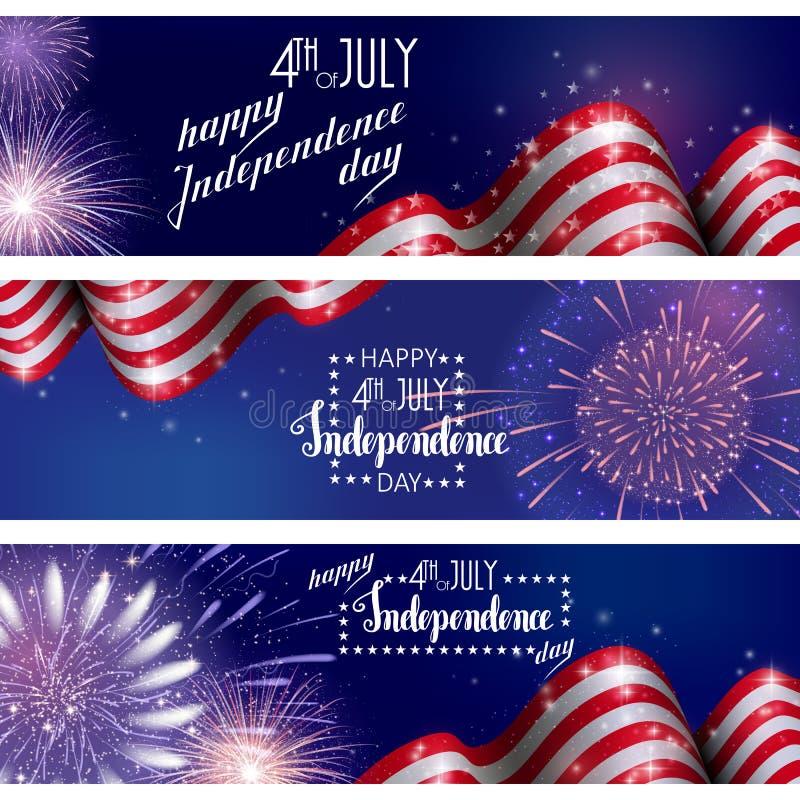 il quarto luglio, fondo americano di celebrazione di festa dell'indipendenza con i fuochi d'artificio del fuoco Congratulazioni s illustrazione di stock
