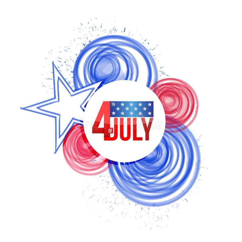 il quarto luglio illustrazione della bandiera della pittura dei cerchi degli S.U.A. illustrazione vettoriale