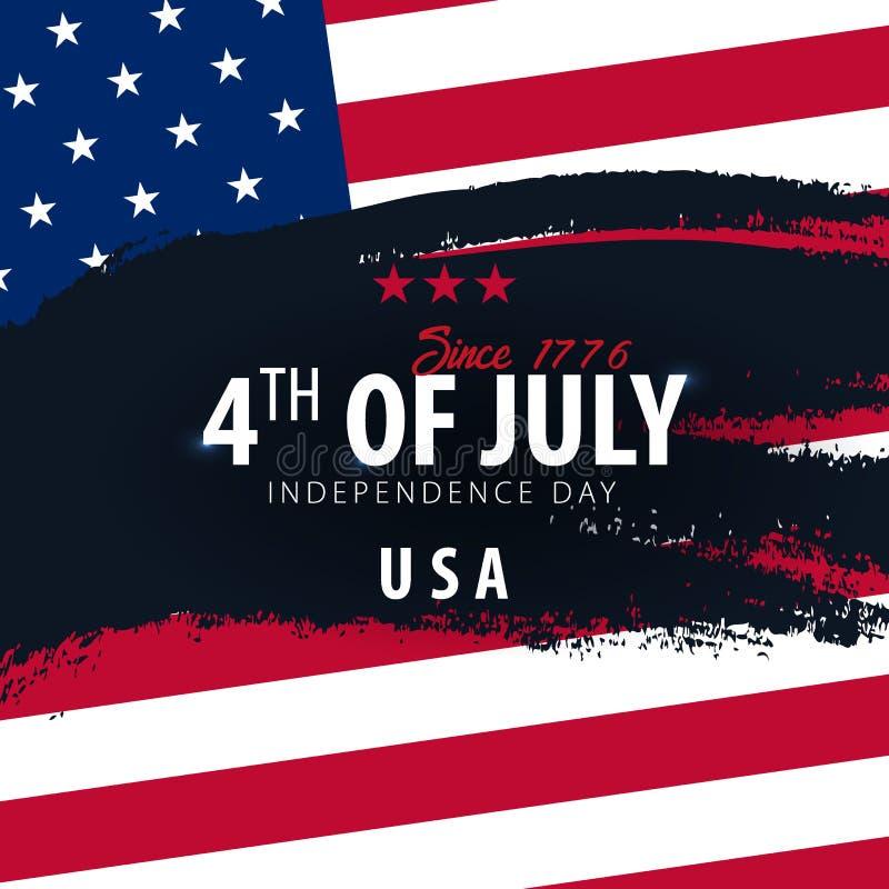 il quarto luglio Insegna di celebrazione di festa dell'indipendenza di U.S.A. con la bandiera americana sui precedenti Illustrazi illustrazione di stock