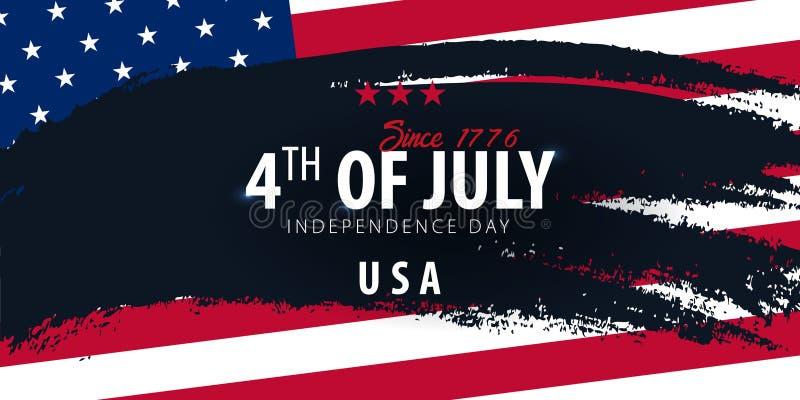 il quarto luglio Insegna di celebrazione di festa dell'indipendenza di U.S.A. con la bandiera americana sui precedenti Illustrazi royalty illustrazione gratis
