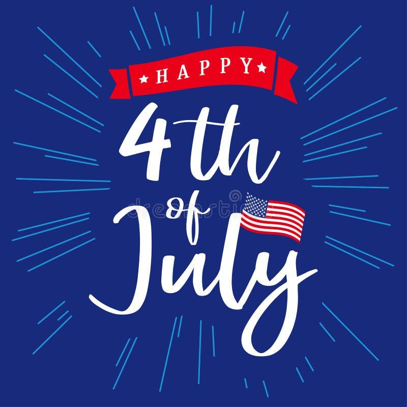 il quarto luglio, la festa dell'indipendenza felice dell'iscrizione di U.S.A. ed i fasci blu progettano royalty illustrazione gratis
