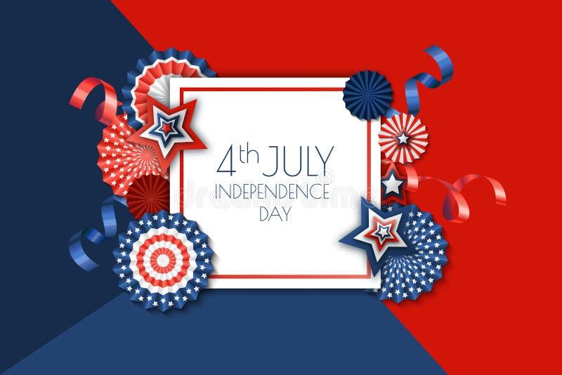 il quarto luglio, modello dell'insegna di festa dell'indipendenza di U.S.A. Fondo di colore con le stelle di carta nei colori del illustrazione vettoriale