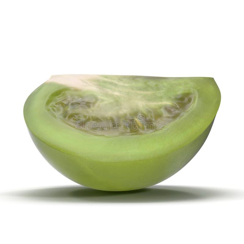 Il quarto verde fresco del pomodoro ha affettato isolato su fondo bianco illustrazione 3D illustrazione di stock