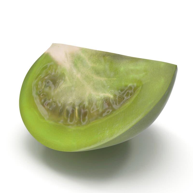Il quarto verde fresco del pomodoro ha affettato isolato su fondo bianco illustrazione 3D royalty illustrazione gratis