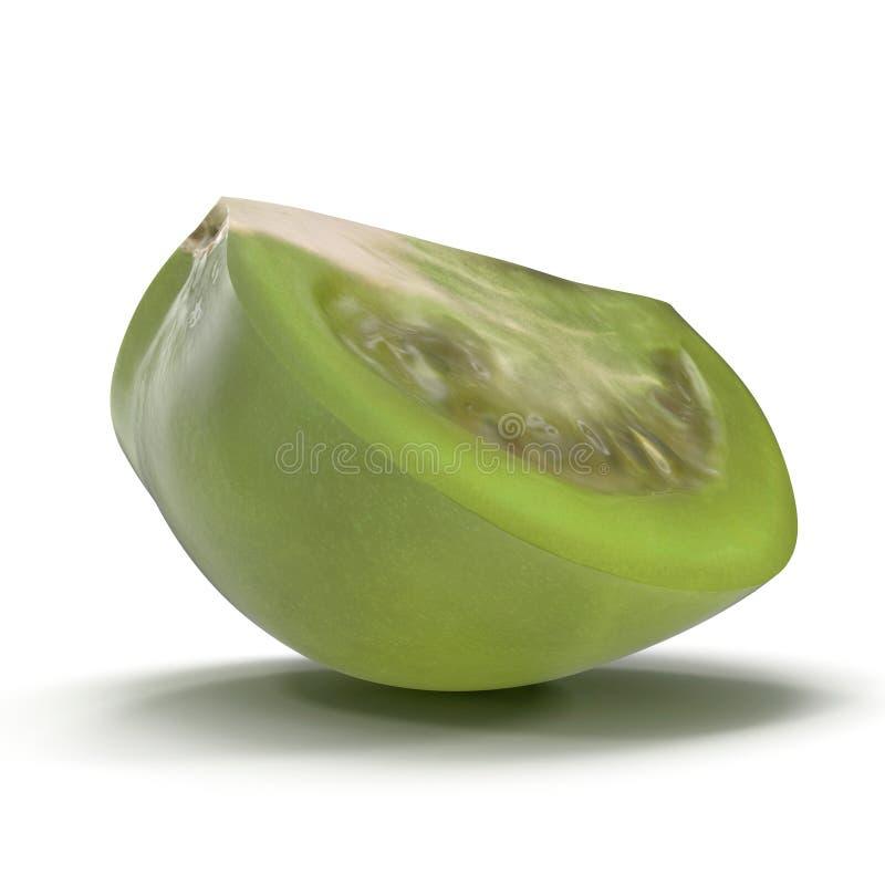 Il quarto verde fresco del pomodoro ha affettato isolato su fondo bianco illustrazione 3D illustrazione vettoriale