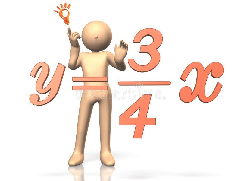 Il a résolu l'équation. illustration stock