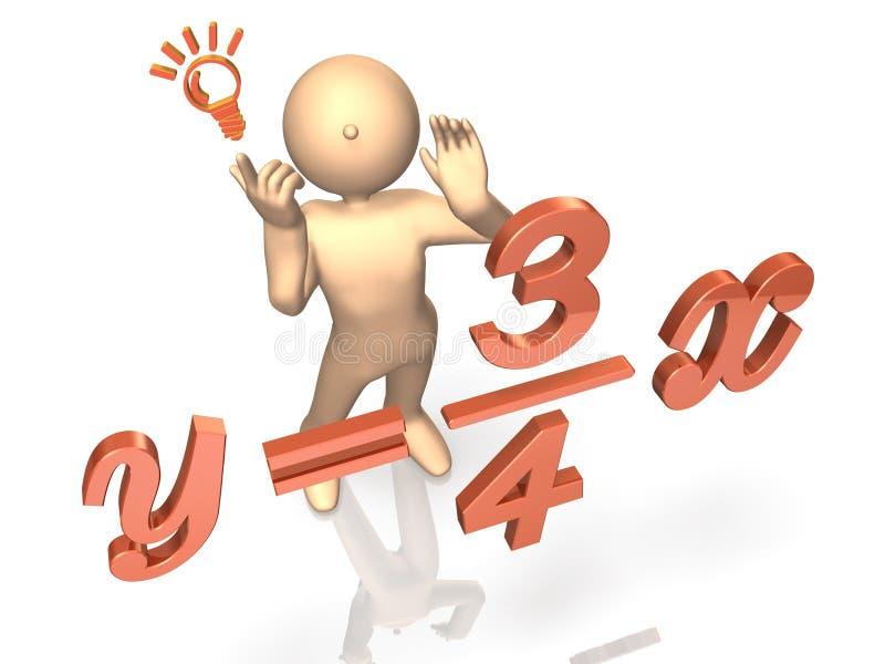 Il a résolu l'équation. illustration de vecteur