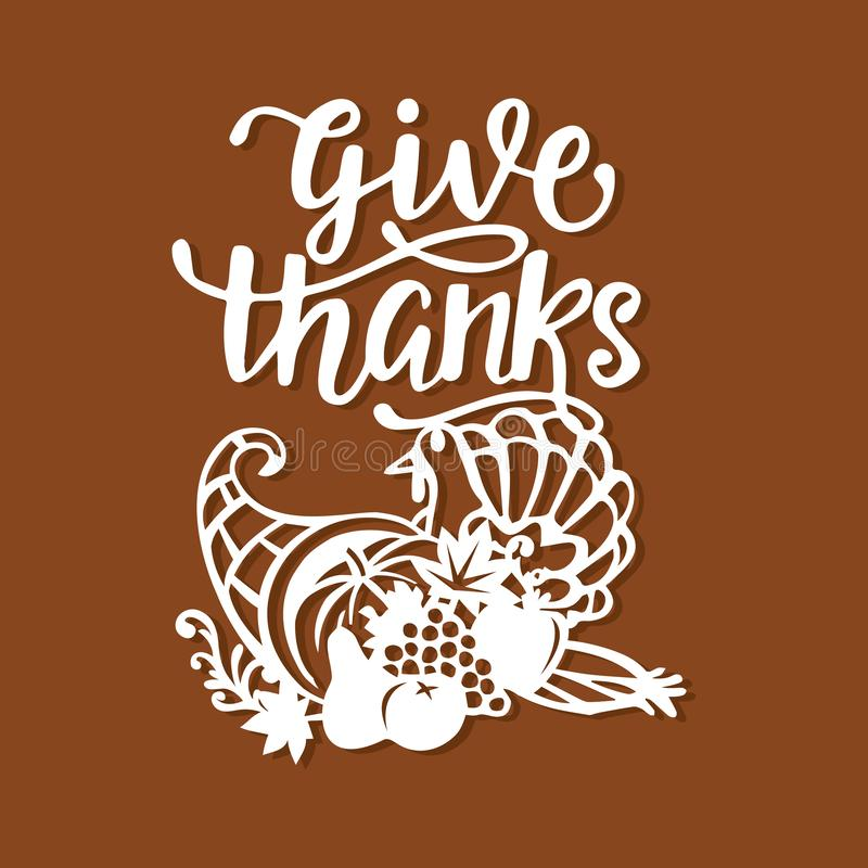 Il raccolto d'annata del tacchino della cornucopia di ringraziamento dà i phras di ringraziamenti illustrazione vettoriale