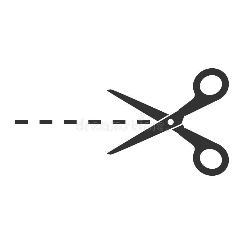 Il raccolto, tagliato tagliando l'icona di forbici Illustartion di vettore, progettazione piana illustrazione di stock