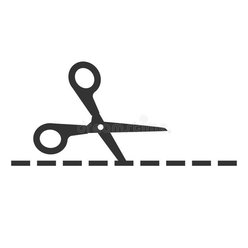 Il raccolto, tagliato tagliando l'icona di forbici Illustartion di vettore, progettazione piana royalty illustrazione gratis