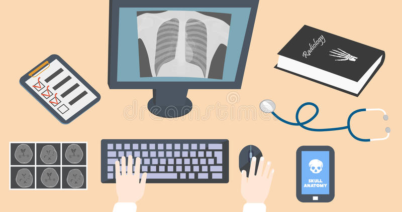 Il radiologo aggiusta il posto di lavoro Mani sulla tastiera e sul topo con il libro, il monitor, le ricerche di ct e lo stetosco illustrazione vettoriale
