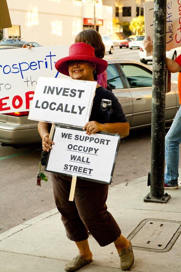 Il raduno di solidarietà a sostegno di occupa Wall Street immagini stock libere da diritti