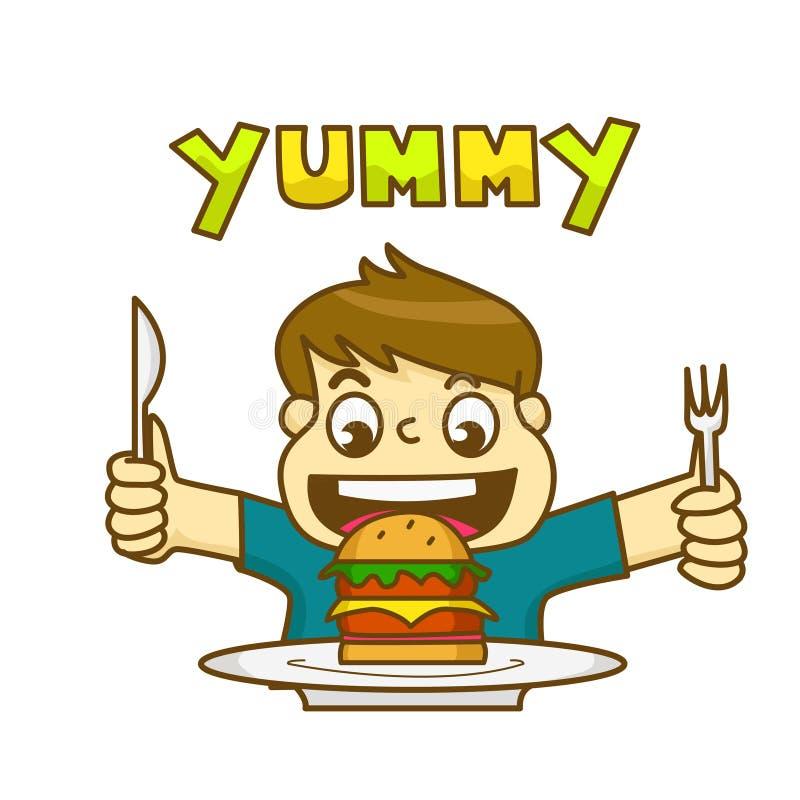 Il ragazzino è molto felice di mangiare l'hamburger delizioso royalty illustrazione gratis