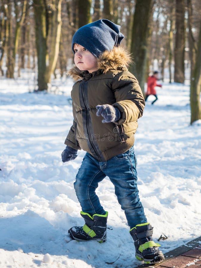Il ragazzino adorabile nell'inverno copre al fondo del parco dell'inverno fotografia stock libera da diritti