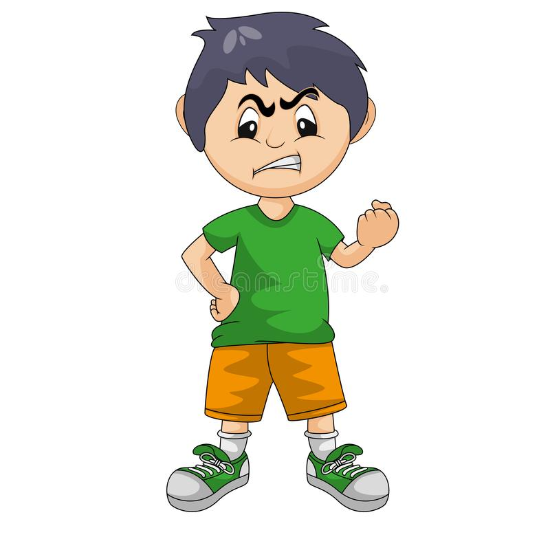 Il ragazzino arrabbiato con le sue mani ha serrato l'illustrazione di vettore del fumetto royalty illustrazione gratis
