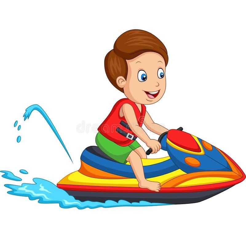Il ragazzino del fumetto guida un jet ski illustrazione vettoriale