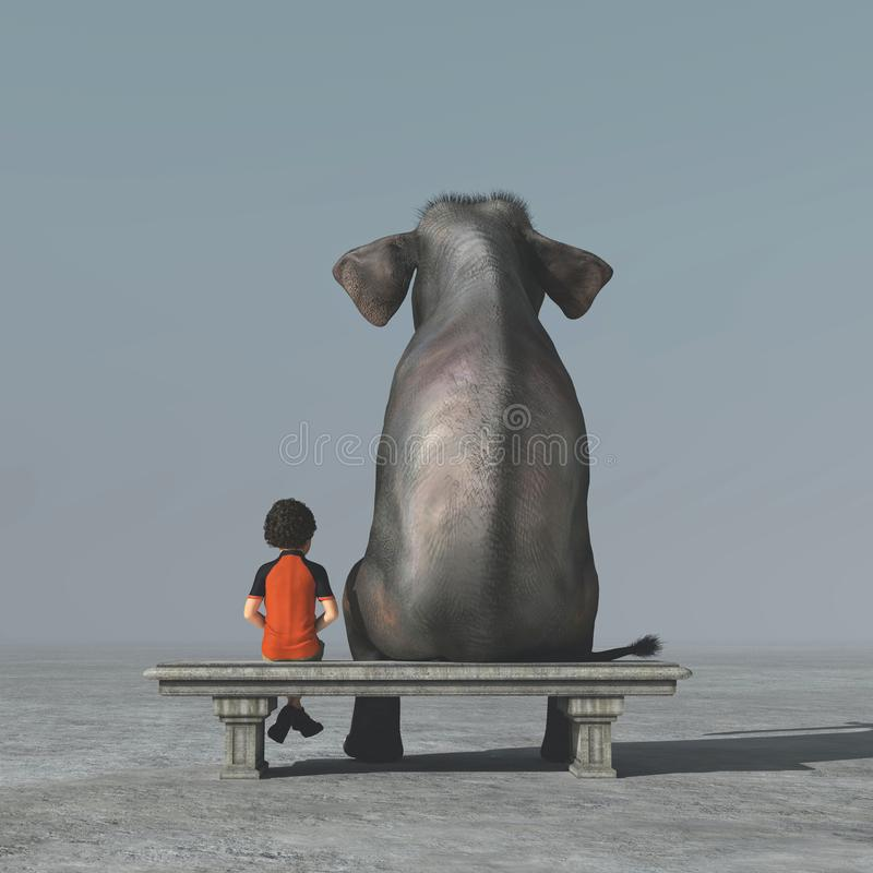 Il ragazzino e un elefante si siede su una banca illustrazione vettoriale