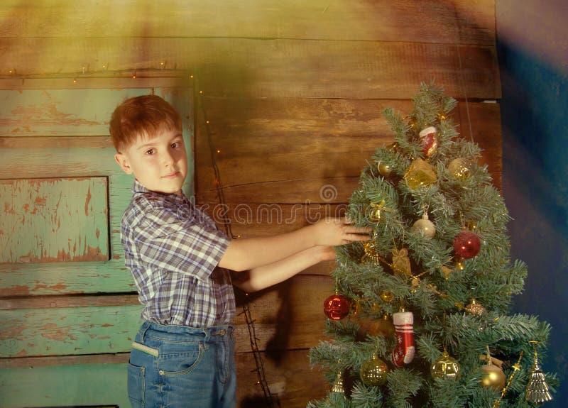 Il ragazzino felice decora l'albero di Natale immagine stock
