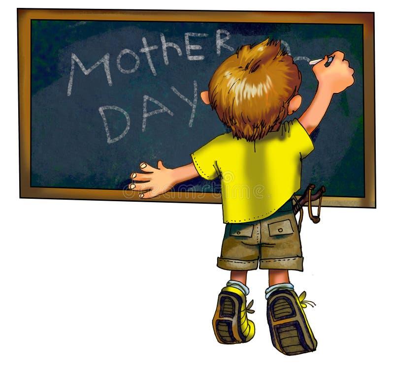 Il ragazzino scrive i saluti di giorno dei motherâs illustrazione di stock