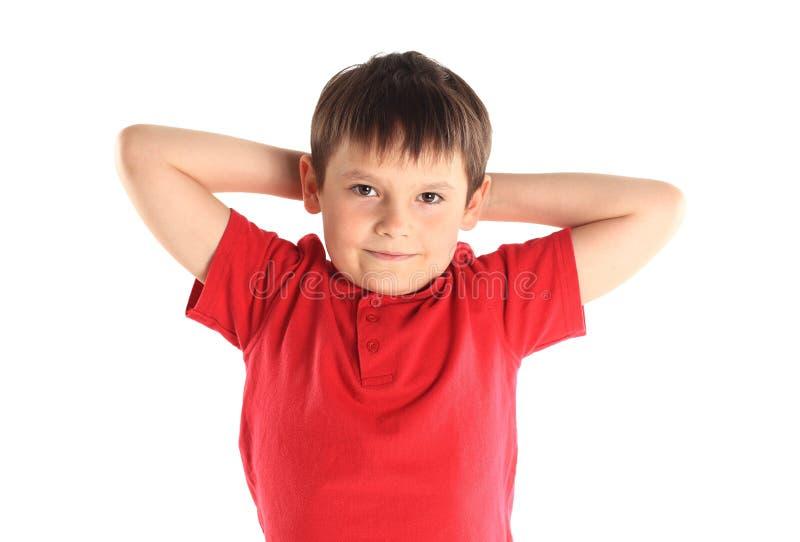 Il ragazzino si esercita. fotografia stock