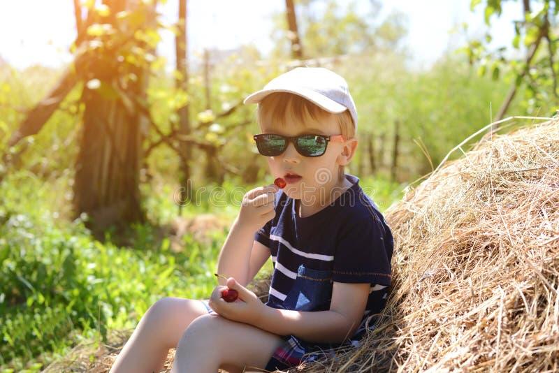 Il ragazzino sveglio ha riposo sulla pila di fieno Il ragazzo mangia la ciliegia matura fotografie stock libere da diritti