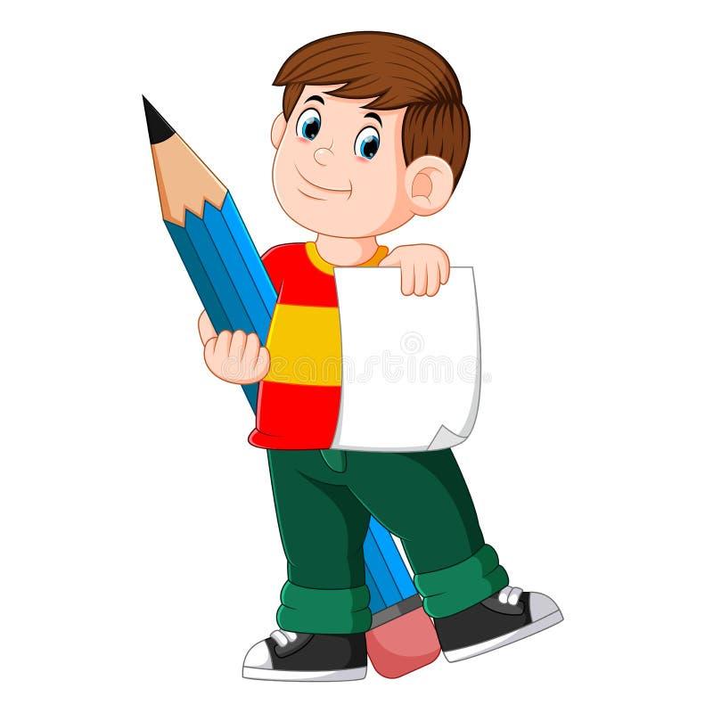 Il ragazzo abile sta tenendo la carta e la grande matita illustrazione di stock