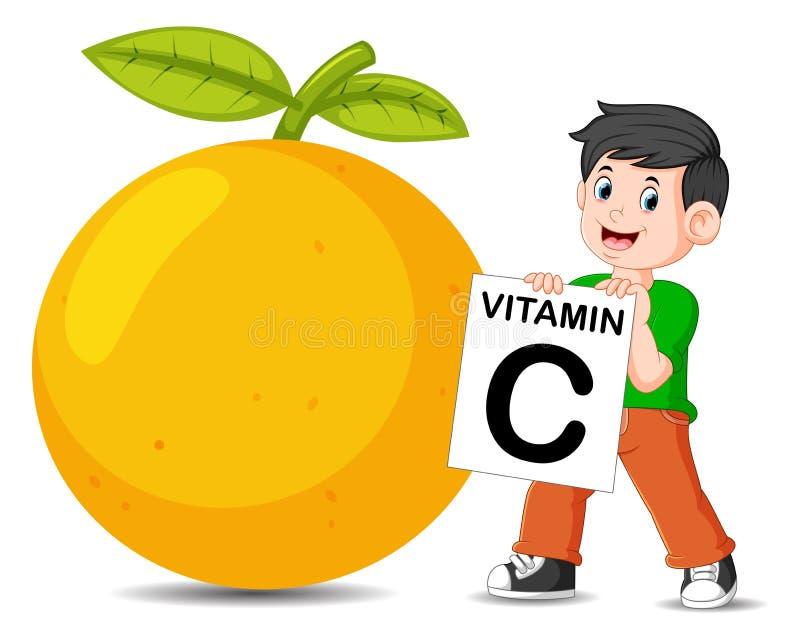il ragazzo accanto all'arancia sta tenendo il bordo della vitamina C illustrazione di stock