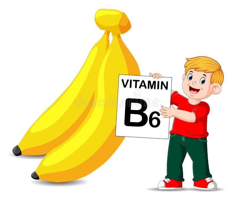 Il ragazzo accanto alla banana sta tenendo il bordo di vitamina b6 illustrazione di stock
