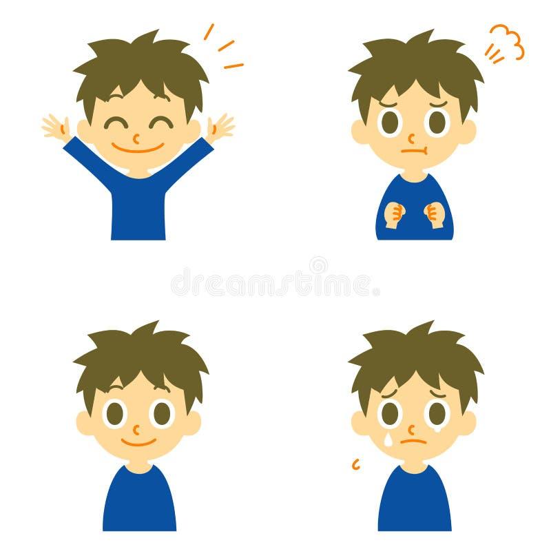 Il ragazzo, allegro, arrabbiato, piange illustrazione vettoriale