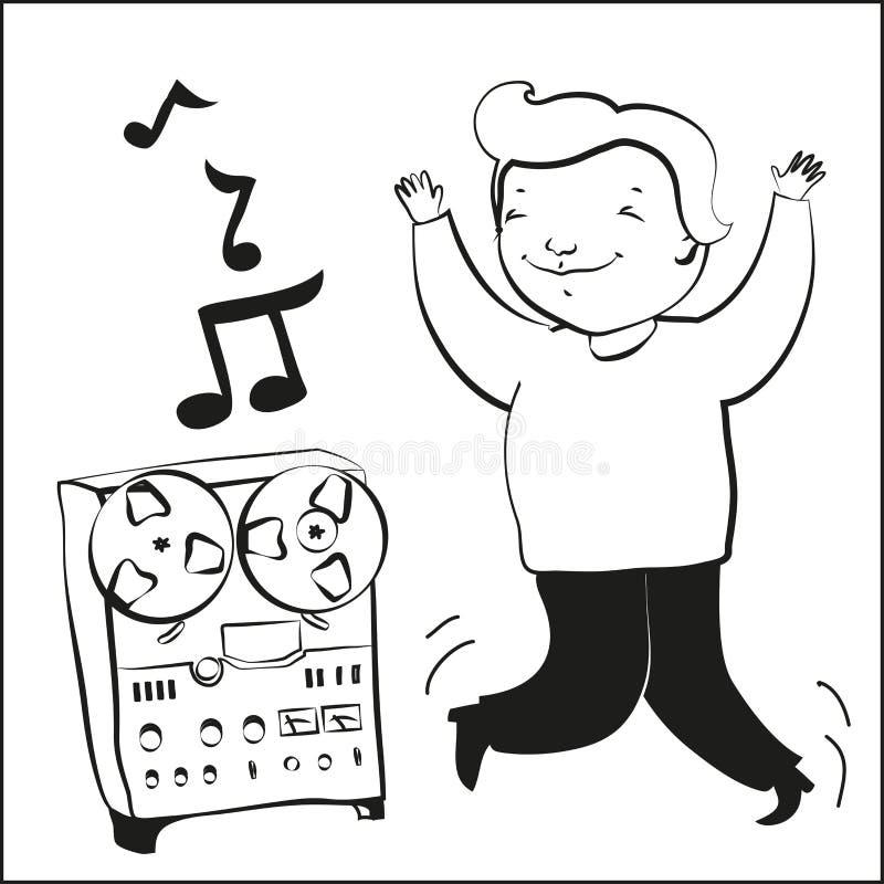Il ragazzo ascolta musica e dansing illustrazione vettoriale