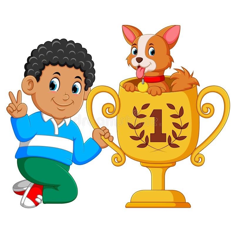 Il ragazzo che ? il primo rango sta tenendo il suo trofeo con il cane su  illustrazione vettoriale