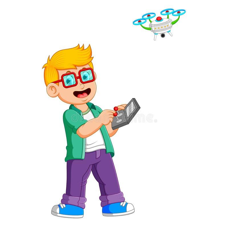 Il ragazzo con i vetri sta giocando con il fuco illustrazione di stock