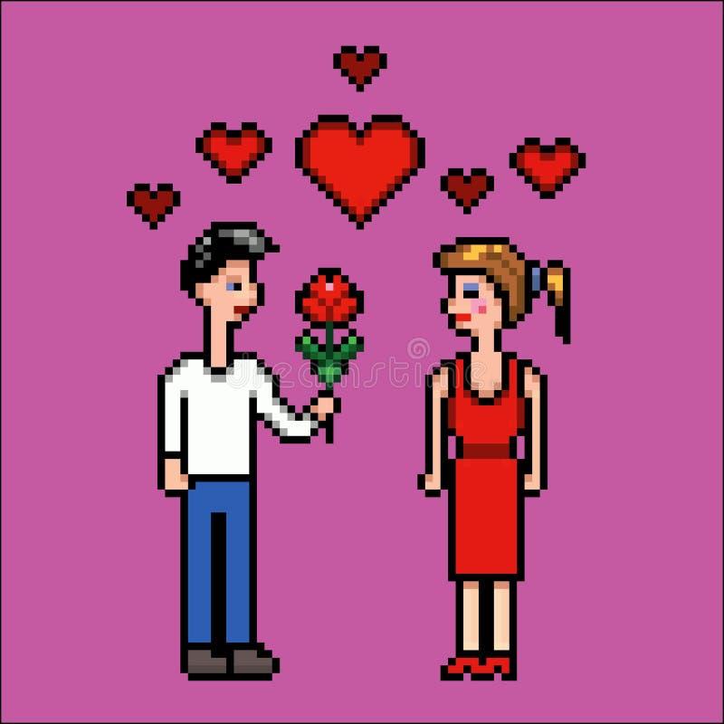 Il ragazzo dà il fiore ad una ragazza, il giorno di biglietti di S. Valentino, illustrazione di vettore di arte del pixel illustrazione vettoriale