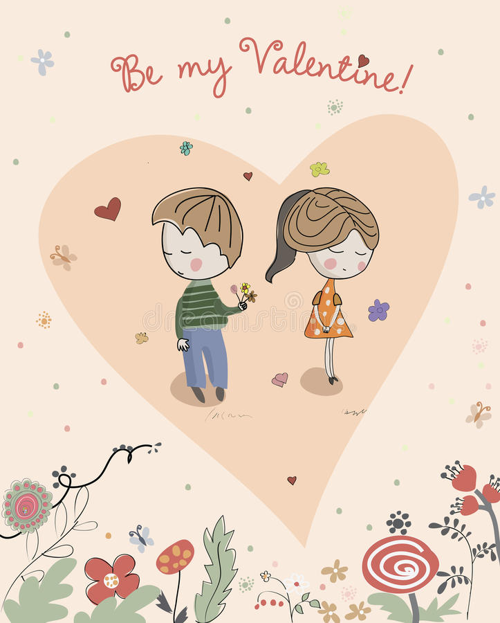 Il ragazzo dà il fiore alla bambina illustrazione di stock