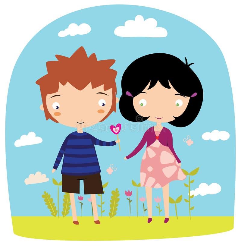 Il ragazzo dà la lecca-lecca sveglia della ragazza sulla datazione illustrazione vettoriale